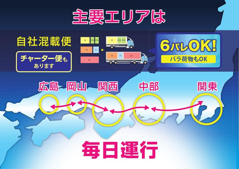 主要エリアは毎日運行 広島・岡山・関西・中部・関東