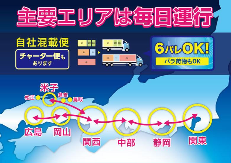 主要エリアは毎日運行 広島・岡山・米子・関西・中部・静岡・関東